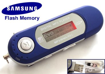 EvoDigitals 4GB Blue MP3 WMA Player  USB With FM Tuner, Voic