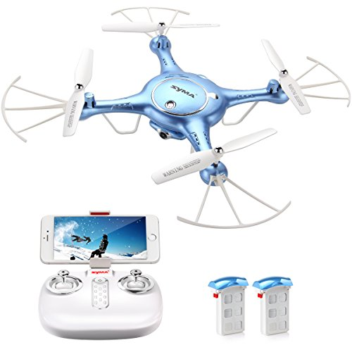 DoDoeleph Syma X5UW FPV RC Drone with 720P HD Wi-Fi Camera Live Video Training Quadcopter for Beginners- Altitude Hold Headless Mode Gravity Sensor One Key Return Includes Bonus Battery Blue