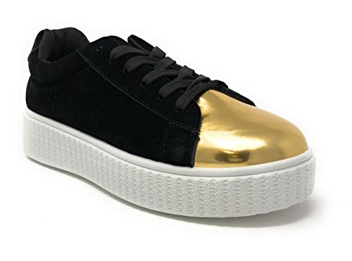 Pink Label Women's Velvet Lace-Up Fashion Sneaker with Gold-Toe in Black Size: 9