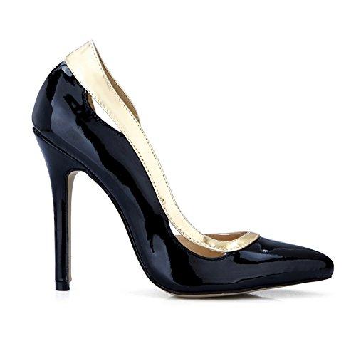 Alto De Zapato Talón Zapatos Del Negros Grandes La Barnizado Haga Clic Labor Caen Mujeres En Black Puntos Cuero Las Nuevos Productos wvgCaTq