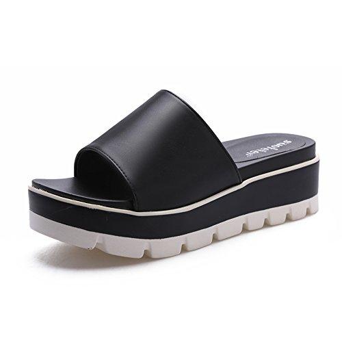 Primavera Heel MEIDUO Mujer Comfort Casual Sandalias Verano PU cómodo Chanclas de negro Wedge sandalias cZAPqXX