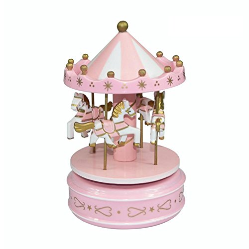 RoseSummer Wooden Carousel Horse Music Box Fairground Musical Box Kids Girls Birthday Gift Toy Home Decor (Pink) by RoseSummer