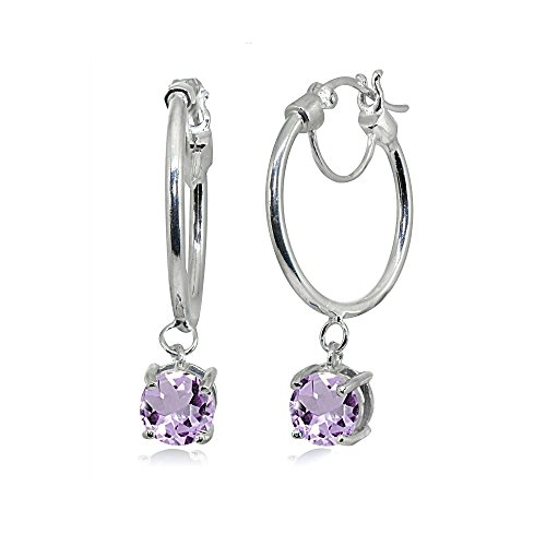Sterling Silver Round Hoop Earrings with Dangling Amethyst Gemstones