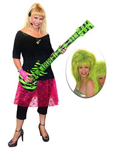 Rocker Chick Pink Lace Plus Size Supersize Halloween Costume Deluxe Lime Wig Kit 9x]()