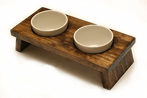 KMG Designs designer pet food bowl set walnut For Cats and Small Breed Dogs