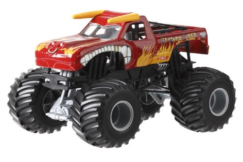 Hot Wheels Monster Jam El Toro Loco Die-Cast Vehicle, 1:24 Scale (Red Monster Truck)