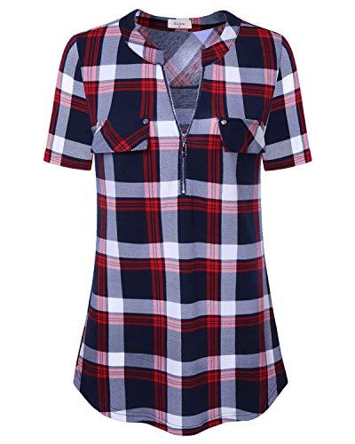 Casual Plaid Women T-shirt - Short Sleeve Tees for Women, Ca Kra Women Summer Casual Plaid Tops Plus Size Cotton Blouse T Shirt, Red Plaid 3X