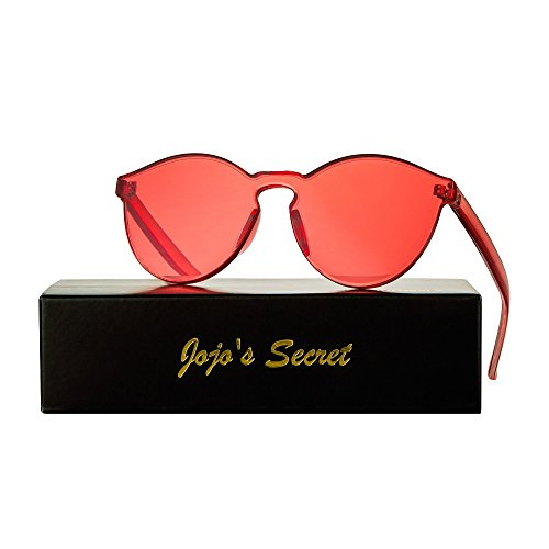 Lens Rimless Sunglasses Shades - JOJO'S SECRET One Piece Rimless Sunglasses Transparent Candy Color Eyewear JS017 (Transparent&Red, 2.3)