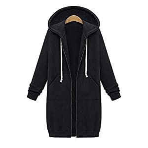 Coutgo Women's Comfy Slim Fit Long Sleeve Full Zip Up Long Hoodie Coat Outwear(M,BLACK)