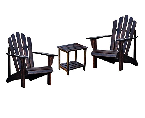 Shine Westport Adirondack Chairs With Rectangular Side Table Bundle in Burnt ()