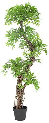 Decorative House Plants - Luxury Japanese Fruticosa Tree, Handmade Artificial Plant, Replica Japanese Tree Made With Real Bark and Synthetic Leaves in a Brown Plastic Pot, 165 Centimetres Tall