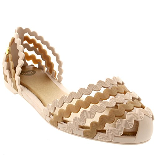 Womens Mel Dreamed By Melissa Sweetie Casual Sandals Summer Jelly Flats - White/Beige - 8