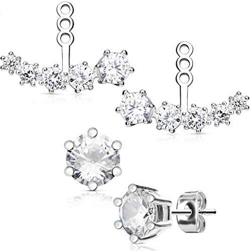 - Surgical Steel Fancy Glam Ear Jacket Set with 5mm CZ Stud Earrings (Casc. Silver)