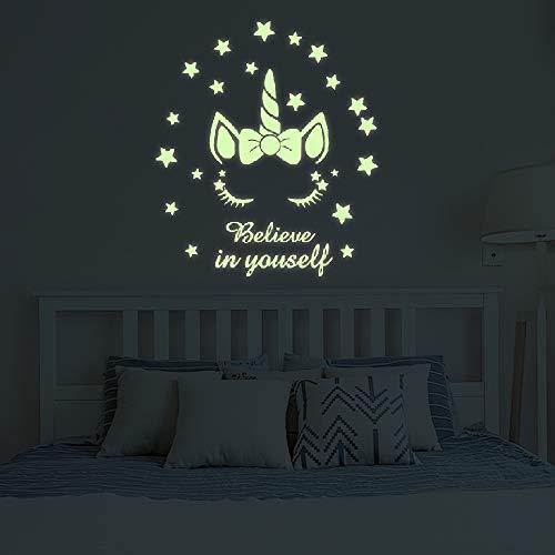 Glow in The Dark Unicorn Stars Wall Decal,