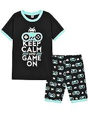 shumintaojin YouTube Gamer Kids Boys Summer Keep Calm and Game ON Short Pyjamas T-Shirt Set 6-13 Years