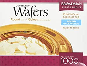 """Broadman Church Communion White Wafers - Cross Design (1 - 1/8"""") - Box of 1000 (10 Individual Packs of 100 Lord's Supper Wafers)"""
