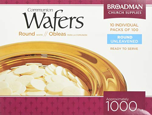 Broadman Church Communion White Wafers - Cross Design (1 - 1/8) - Box of 1000 (10 Individual Packs of 100 Lords Supper Wafers)