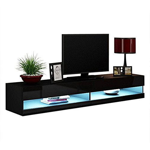 - Concept Muebles 80 Inch Seattle High Gloss LED TV Stand - Black