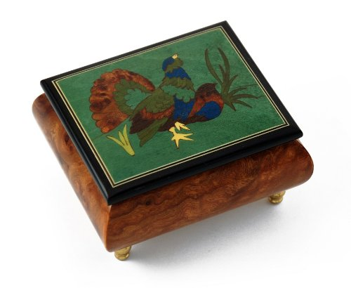 Handcrafted Birds theme Italian Music Box with Grouse Inlay - Return to Sorrento (Torna a Sorrento) Sorrento Italian Inlay