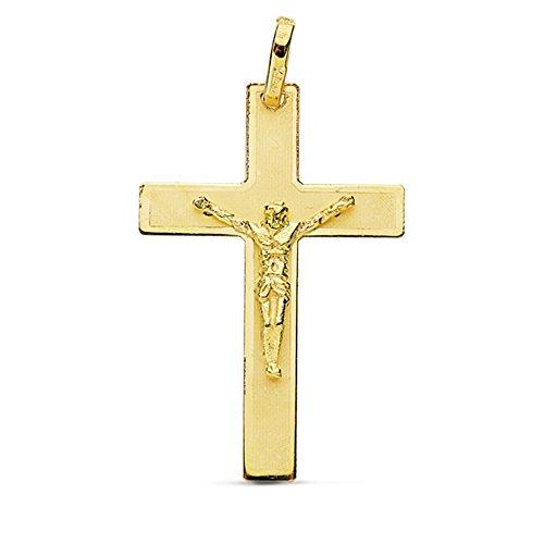 Croix pendentif 29mm 18k crucifix d'or. [AB0796]