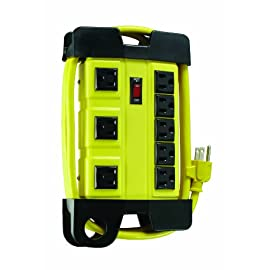 Woods 4655 Power Strip, Yellow 5 HEAVY DUTY metal housing makes this 8 outlet power block perfect for use in your workshop or any other rugged work area 8 GROUNDED OUTLETS that allow you to power multiple appliance at once 3 SPACED OUTLETS for adapter plugs