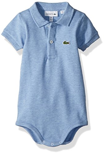 Lacoste Baby Boys Layette Short Sleeve Pique Body Gift Box, Cloudy Blue Chine, 12 Months