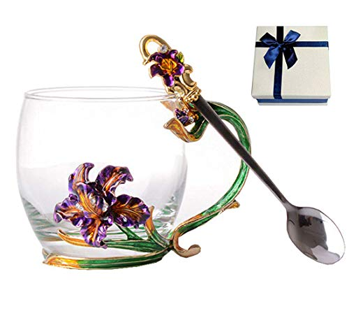 Floral Glass Coffee Mug Tea Cup with Spoon Gift Box Birthday Valentines Day Gift (orchid ()