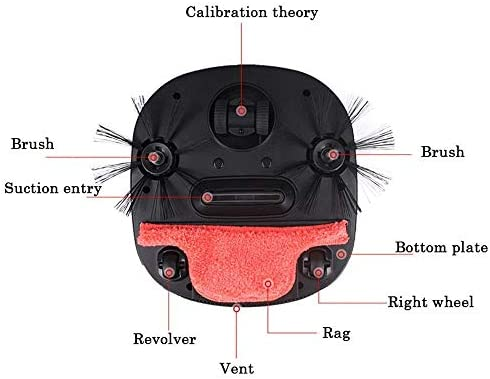 Zhipeng Robot Multifonction Robot Balayer 1800Pa Aspirateur, 3-in-1 Balayer Aspirateur Automatique Rechargeable Intelligente Balayer Robot Humide Sec Accueil Fanghua hsvbkwm