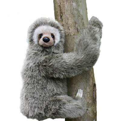 Hansa Three-toed Sloth Stuffed Plush Animal Sitting by Hansa