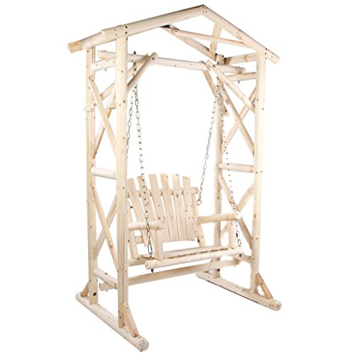Wooden Yard Swing Sturdy Frame Country Style Outdoor For Garden And Porch