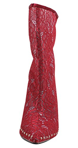 Flower Robbin Lace Boot Mid Womens Sheer Calf Red Stiletto CR Cape xBqagg