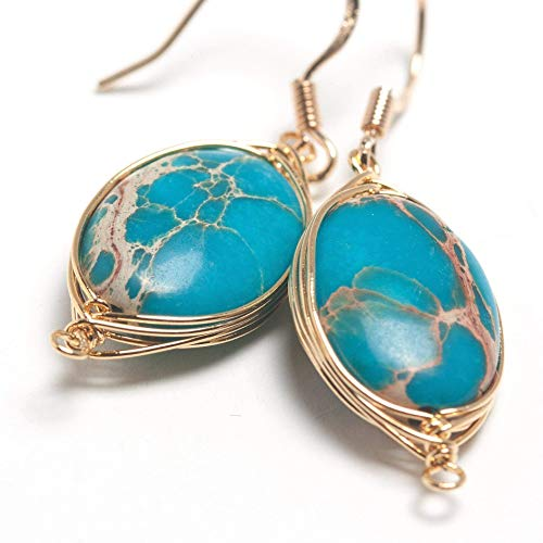 Natural Stone Wire Wrap Dangle Drop Earrings Gold Plated 925 Sterling Silver Hook/Impression Jasper