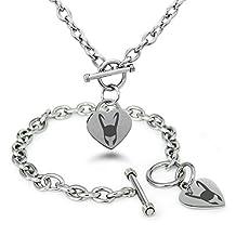 Stainless Steel Marvel Loki Logo Heart Charm Bracelet & Necklace