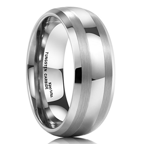 King Will Men's 8mm Tungsten Carbide Ring Wedding Engagement Band Matte/Brushed Finish Lines(9)