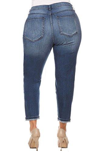 e5344e9a2c232 Cello Jeans Women PLUS SIZE Faded Boyfriend Jeans with Whisker Detail 18  Medium Denim at Amazon Women s Jeans store