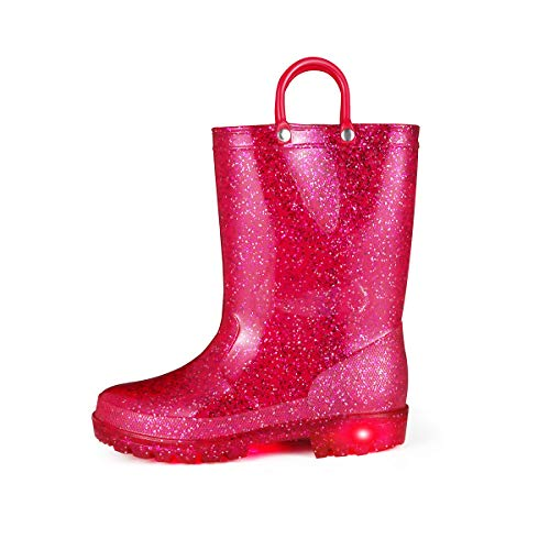 KomForme RRGL053-1M K Light Up Kids Rain Boots Glitter Girl Boots Red