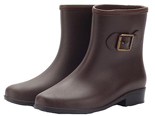 HW-GOODS Womens Fashion Contrast Color Non-slip Rain Boot Brown cY2OQI