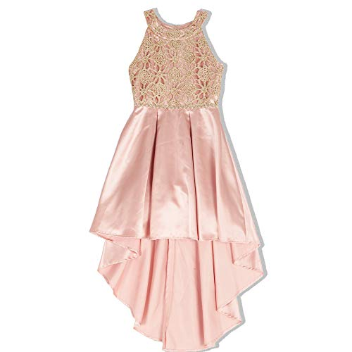 Speechless Big Girls Circle Neck Party Dress with High-Low Hemline, Rose Gold,