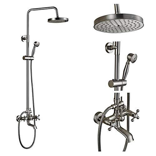 (Rozin Wall Mounted Top Rainfall Shower Set Tub Faucet with Handheld Spray Brushed Nickel)