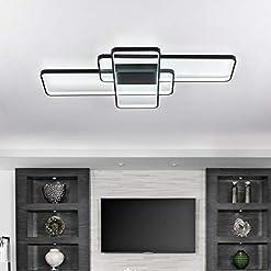 "Interior Lighting CHYING Modern LED Ceiling Light Flush Mount 41"" 60W 3-Layer Geometric Black Light Fixture PVC Metal Chandelier Lights… modern ceiling light fixtures"