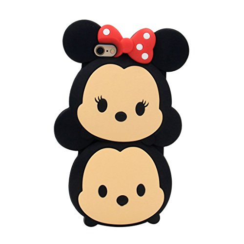 iPhone 6S Plus Case, MC Fashion Cute 3D American Cartoon Characters Minnie and Mickey Mouse Silicone Phone Case Compatible for iPhone 6S Plus & iPhone 6 Plus (Minnie and (Cartoons Characters)