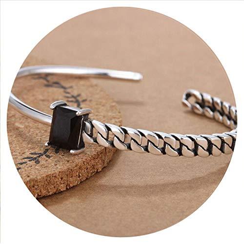 Romantico 925 Sterling Silver Jewelry Tricolor Zircon Irregular Twisted Chain Model Thai Silver Cuff Bracelets & Bangles S-B74,Black