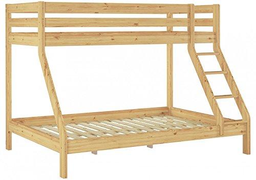 Erst-Holz Letto a Castello 3 piazze per materassi 140×200-90x200anche per Adulti in Pino Eco 60.19-09-14 Prezzi offerte