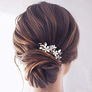Jakawin Bride Wedding Pearl Hair Pins Bridal Hair Accessories Silver Hair Piece for Women and Girls HP065 (Gold)