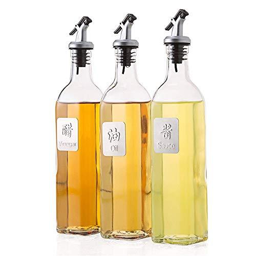 Premium Seasoning Box Kitchen Glass Jar Moisture-Proof Home Multi-Purpose Jam Bottle Cruet Glass Anti-Leakage Oil Vinegar Bottle Set Of 3
