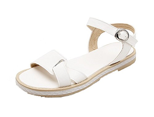 AllhqFashion Women's Solid Pu Low-Heels Open-Toe Buckle Sandals, FBULD014454, White, 39 by AllhqFashion