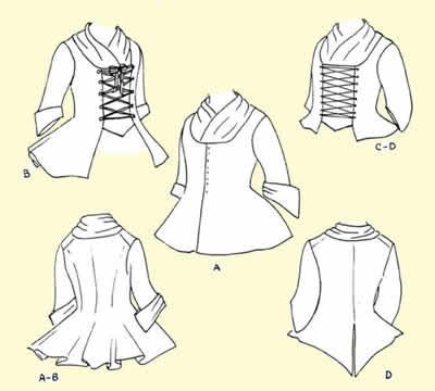 18th Century Jackets Pattern (XL-18-20, Bust size (Colonial Tailor Costumes)