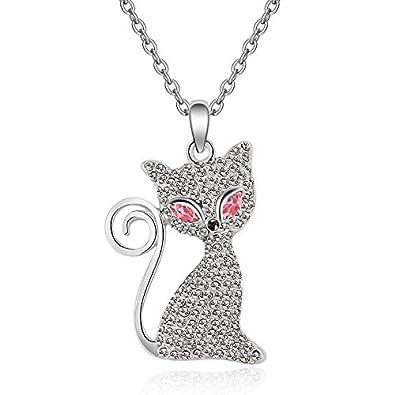 WTTCD Collar para Mujer Colgante para Mujer S925 Collar Gato ...