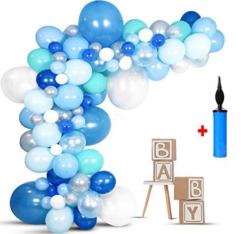 Air Balloon Baby Shower (DIY Balloon Arch Kit Balloon Garland Kit Baby Kit - Baby Shower Decorations for Boy/Baby Boy Balloon Blue Backdrop/Birthday Decoration/Birthday Backdrop/Baby Shower Kit - Balloon Air Pump INCLUDED -)