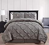 Royal Hotel Oxford Decorative Pinch Pleat Comforter Set, 3 Pieces, Hypoallergenic Comforter, Down Alternative Fill, Twin Extra Long, Gray